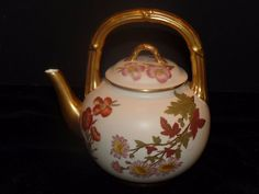 1888 Royal Worcester Blush Teapot Gold Hand Painted Floral Aesthetic Period L.E. #AestheticMovement #RoyalWorcester