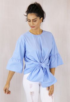 Tie Front Statement Sleeve Cotton Blouse in Light Blue