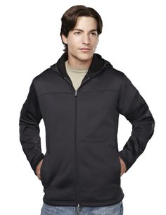 Mens Front Zippered Pockets Heavyweight Polyester Fleece Hooded Jacket.  Tri mountain 7338 #black #HoodedJacket #JacketWithPockets