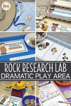 Create a geology lab dramatic play center in your preschool, prek, or kindergarten classroom. Combine science, math, and literacy in a developmentally appropriate way. Camping Dramatic Play, Dramatic Play Themes, Dramatic Play Area, Dramatic Play Centers, Science Center Preschool, Preschool Classroom Setup, Preschool Themes, Science For Kids, Science Centers