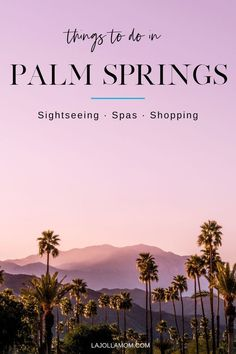 Planning a trip to Palm Springs and looking to build an itinerary of unique activities and things to do? Look no further - here we discuss our top choices from sightseeing to spas. Check it out at La Jolla Mom! Fun Activities To Do, Spring Activities, Palm Springs Spa, Palm Springs Shopping, Stuff To Do, Things To Do, California Travel, California Restaurants, Southern California