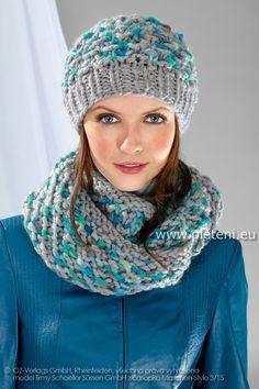 Ručně pletená čepice a nákrčník - návod, vzor, popis a pracovní postup pletení č. 22 a 23