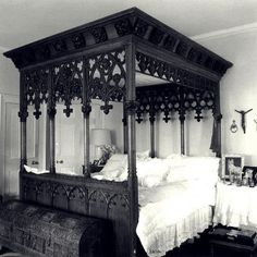 Stunning Modern Gothic Bedroom Design Decorating Ideas - Page 12 of 24 Ikea Canopy, Canopy Bedroom, Patio Canopy, Diy Canopy, Canopy Beds, Wooden Canopy, Beach Canopy, Canopy Curtains, Gothic Bed
