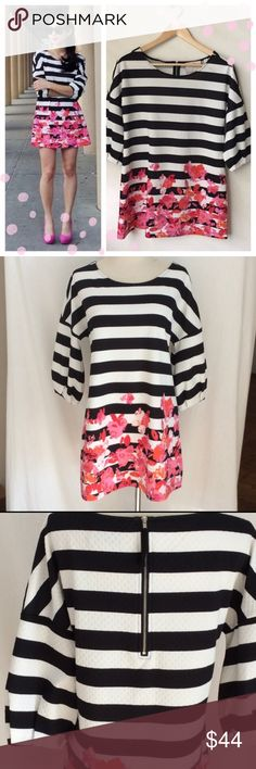 """Anthropologie Postmark floral striped tunic Postmark from Anthropogie floral striped tunic. Good used condition, with no signs of wear. Approx 28.5"""". Anthropologie Dresses Mini"""