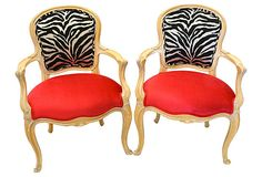Hollywood Regency Style French Zebra & Hot Pink Chairs- A Pair Fabulous pair of Hollywood Regency style arm chairs. Upholstered in zebra & hot pink/fuchsia velvet material. Funky Chairs, Vintage Chairs, Side Chairs, Dining Chairs, Room Chairs, Dining Room, Zebra Chair, Leopard Chair, Hot Pink Furniture