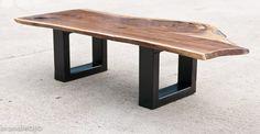 Steel Base Coffee Table - live edge bench - Acero