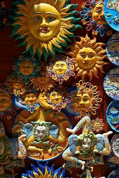 Pottery suns and Trinacria in tourist shops and Sicilian pottery Érice, Erice, Sicily stock photos. Sun Moon Stars, Sun And Stars, Good Day Sunshine, Sun Designs, Italian Pottery, Sun Art, Pictures Images, Clay Art, Art Prints