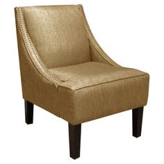 Pine wood swoop arm chair with nailhead-trimmed upholstery and foam cushioning. Handmade in the USA.  Product: Chair...
