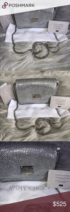 "Jimmy Choo 'Ruby' Glitter Clutch Jimmy Choo 'Ruby' Glitter Clutch brand new with dustbag and authenticity cards. Selling at Nordstrom for 745$ right now. Silver sparkles. Gorgeous bag with chain! 6 1/4"" x 4 1/4"" H x 2"" D with 25 "" crossbody chain. Love love love ✨✨✨✨ Jimmy Choo Bags Clutches & Wristlets"