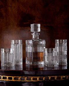 Lauren By Ralph Each Glen Plaid Decanter Traditional Barware Crystal