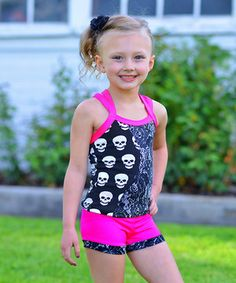 This Black & Pink Skulls Cross-Back Tank & Shorts - Toddler & Girls by Lexi-Luu Designs is perfect! #zulilyfinds