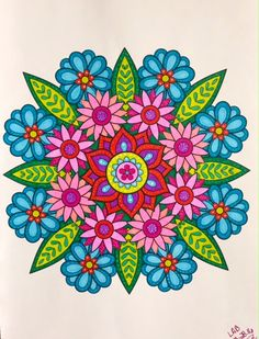 Flower Mandalas #designoriginals colorbyleeannbreeding 3 28 16