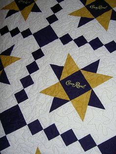 Crown Royal quilt by lisamarie via Flikr - Not sure I love the alcohol logo but do love the overall design. Crown Royal Quilt, Crown Royal Bags, Quilting Projects, Quilting Designs, Sewing Projects, Art Quilting, Quilting Ideas, Sewing Ideas, Sewing Patterns