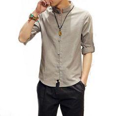 QSuper Men Linen Shirts Long Sleeve Chinese Style Mandarin Collar Traditional Kung Fu Tang Casual Social Shirt Brand Clothing