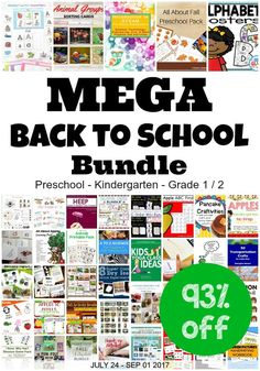 This Mega Back to School Bundle has 52 Products with Retail Value $360 for $24.95 until September 1, 2017 - for preschool through 1st and 2nd grade!
