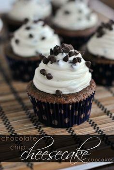 Chocolate cupcakes topped with a Chocolate Chip Cheesecake frosting. #cupcakes #cupcakeideas #cupcakerecipes #food #yummy #sweet #delicious #cupcake