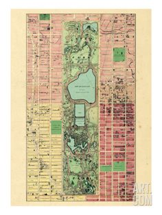 New York City, Central Park Composite, New York, United States Travel Giclee Print - 46 x 61 cm Vintage New York, Vintage Maps, New York City Central Park, Map Globe, Historical Maps, Old Maps, City Maps, New York Travel, Cartography