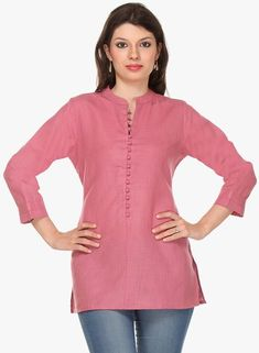Nordstrom Jeans - Buy Vedanta Pink Solid Kurti for Women Online India, Best Prices, Reviews | VE98... Short Kurti Designs, Kurta Designs Women, Latest Kurti Styles, Kurti With Jeans, Kurti Embroidery Design, Kurta Neck Design, Tunic Designs, Kurti Patterns, Indian Designer Wear