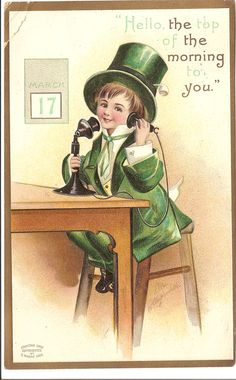 Leprechaun Sends Spring Greetings: a vintage postcard for wordless ...