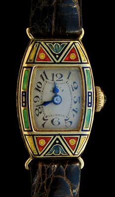 ART DECO  Tania Enamelled Watch  Gold & enamel  The case marked: '18K' & numbered   Swiss. Circa 1925