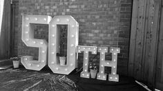 50th Large Light Up Letters for Birthday Celebrations.
