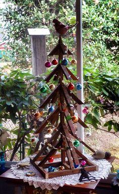 Tobacco stake Christmas Tree..., handmade by my husband...