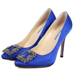 Zapatos Manolo Blahnik en satin azul....