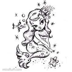 Vintage inspired baby doll mermaid adult coloring book page from artist Claudette Barjoud, a.k.a Miss Fluff's coloring book! #adultcoloringbook #adultcoloringpages #coloringpages #missfluff #mermaidcoloringpages #mermaidcoloringbook