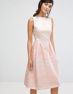 Oasis Organza Stripe Midi Skater Dress - Pink Blush Dresses a29802685