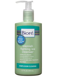Biore Blemish Fighting Ice Cleanser.  A cleanser for acne-prone skin. Unclogs pores while ridding the skin of dirt, oil, and makeup. The salicylic acid formula is potent, but the fresh scent and soothing ingredients like lavender keep it from feeling medicinal.  Best of Beauty Awards 2009 and 2008.  Allure