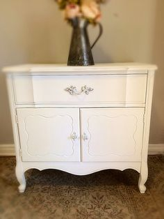 Vintage/French Provincial White Babyroom Furniture/Baby Changing Table/Rustic  Wood Cabinet/