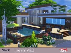 A big villa with three bedrooms and a guest room . The villa has its own gym and pool. It is convenient for a big family. It has sunny, big and comfortable rooms. Found in TSR Category 'Sims 4 Residential Lots' Sims 4 Modern House, Sims 4 House Design, Sims 4 House Plans, Sims 4 House Building, Sims 4 Family, Big Family, Lotes The Sims 4, Sims 3, Casas The Sims 4