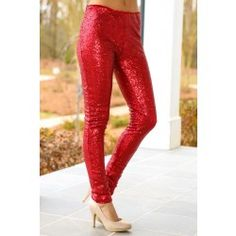 Ready For Anything Sequin Leggings-Red - $42.00