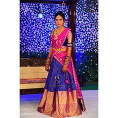 25 Kanjeevaram Lehenga Inspirations Handpicked For The Sister Of The Bride Lehenga Saree Design, Half Saree Lehenga, Pattu Saree Blouse Designs, Kids Lehenga, Lehnga Dress, Saree Blouse Patterns, Indian Lehenga, Indian Gowns, Lehenga Designs
