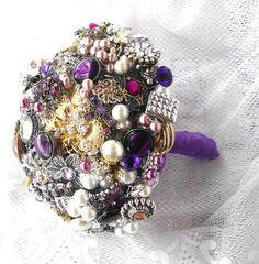 Brooch Bouquet purple Wedding Custom Colors by AfternoonDelite, $170.00