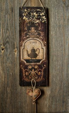"Купить Панно ""Time"" - коричневый, панно, панно на стену, кантри, прованс, кухонное панно, винтаж"