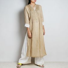 Beige Mul Cotton Afreen Kaftan With Inner And Bottoms by FLAME