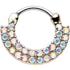 "16 Gauge 3/8"" Aurora CZ Gold IP Double Row of Glamour Septum Clicker | Body Candy Body Jewelry"