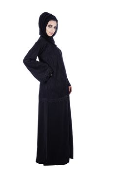Black Stunning and attractive Abaya from o3bay with lace fabric to enhance the look, Stylish and comfortable dress for any season