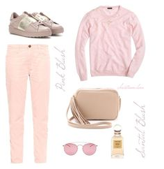"""pink''"" by christinmalvin ❤ liked on Polyvore featuring J.Crew, Current/Elliott, Lauren Merkin, Valentino, Maison Margiela, Tiffany & Co., Tom Ford and followme"