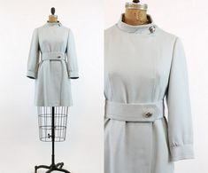 60s Coat XS / 1960s Vintage Coat Mod Dress /  Sky Blue Coat