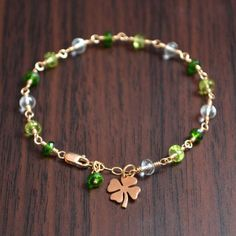St Patrick's Day Bracelet Gold or Sterling Silver by livjewellery