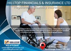 Disability Insurance  Disability insurance (DI) is a contract of insurance (a policy - either individual or group) that provides monthly benefits if the insured is unable to work due to an accident or sickness and, consequently, suffers a loss of earned income.  Contact us; we believe we can cater to your needs in an effective and ethical manner. http://www.hilltopfinancials.com/Insurance.html