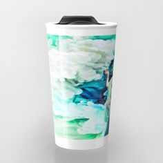 The Goddess of Mercy Travel Mug by azima Watercolor Feather, Coffee To Go, Bohemian Decor, Cold Drinks, Travel Mug, Tapestry, Ceramics, Mugs, Wall Art
