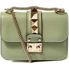 Valentino Mini Green Rockstud Shoulder Bag ($1,590) ❤ liked on Polyvore featuring bags, handbags, shoulder bags, mini shoulder bag, valentino purses, green handbags, green purse and mini handbags