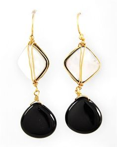 Semi-precious stone and shell drop earrings. Night & Day Earrings from Signature Style 365 only $30