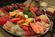 verschieden fleischhäppchen zum fondue