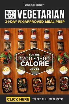This easy vegetarian meal prep is 21 Day Fix approved and full of tasty recipes ideas! Read on to find out how this 1200-1500 calorie meal prep can fit into your healthy eating plan.