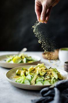 Summer Vegan Green Goddess Salad with Pumpkin Seeds, Lettuce, Avocado, Cucumbers, Tomatoes, Hemp Seeds