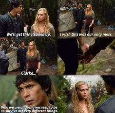 The moment Clarke fell for Bellamy. She realizes being in charge isn't easy and every choice seems wrong. And that Bellamy is actually a good leader and cares about her and their people. #Bellarke
